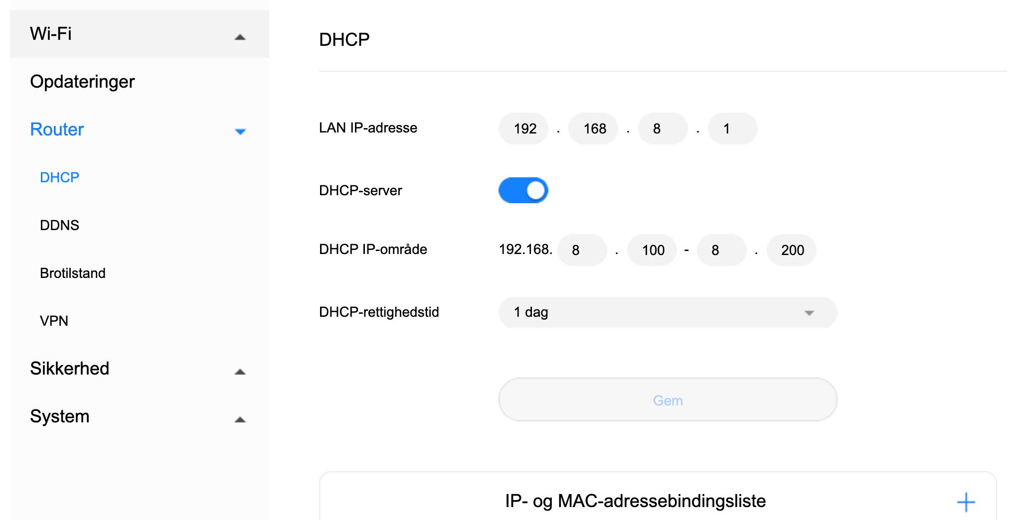 DHCP indstillinger