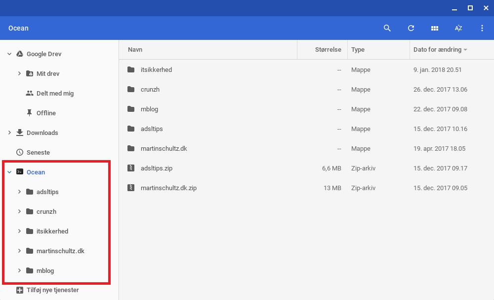 Chrome SFTP i filsystem